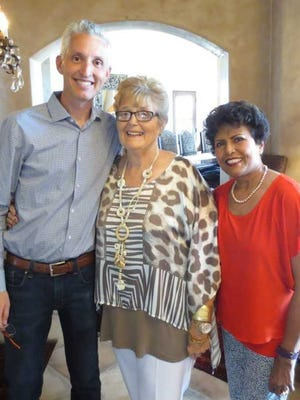 Patsy Duran, center, the progenitor of the Community Foundation of Southern New Mexico, stands with former CFSNM Board President Jeremy Settles and CFSNM Board Secretary Ammu Devasthali. Duran died at age 77.