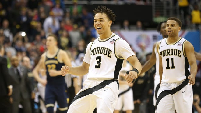 Boilermakers guard Carsen Edwards (3) reacts on the court in the second half against the Michigan Wolverines during the Big Ten Tournament at Verizon Center.
