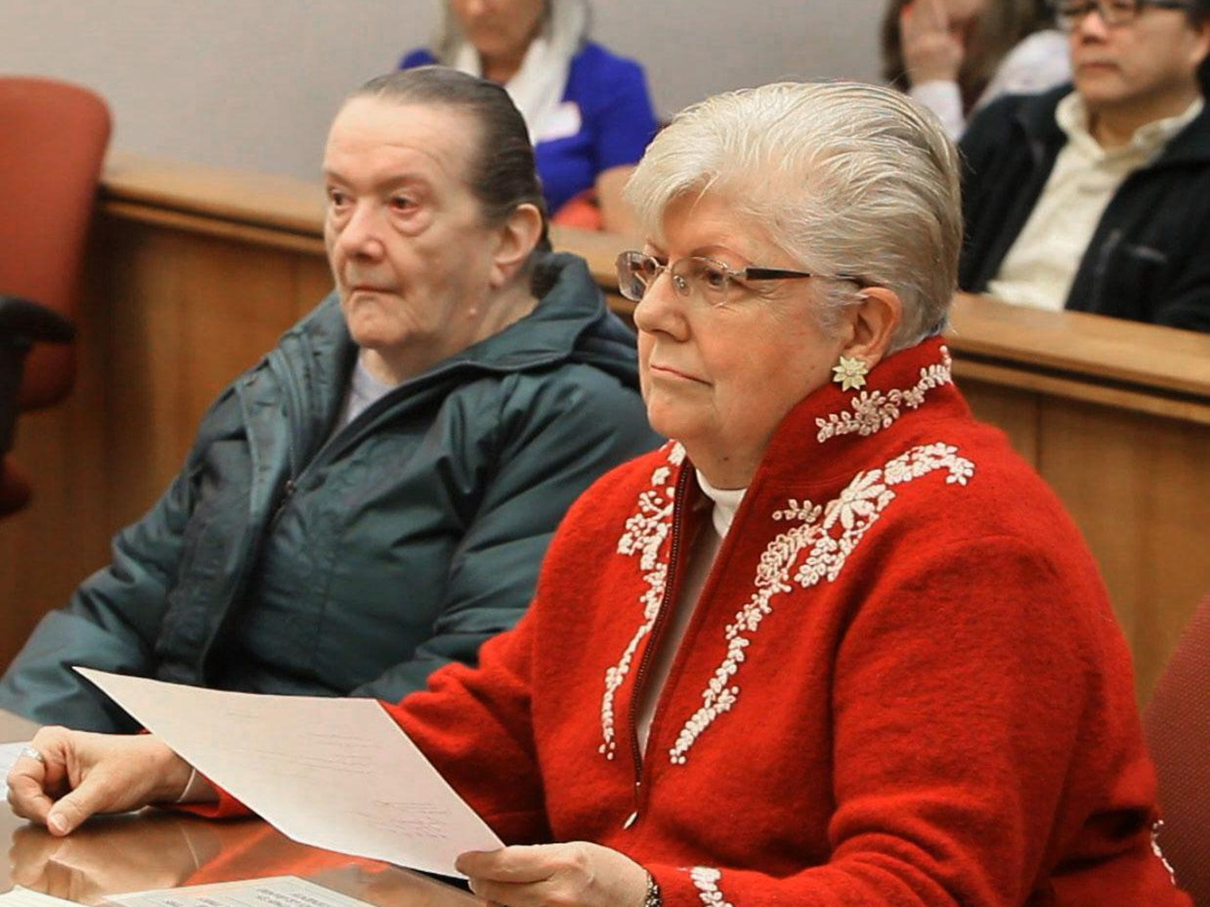 Helen Hugo, left, in the Atlantic County courthouse