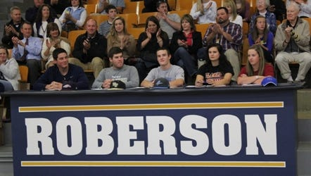 Nathan Blaylock, far left, signed to play college baseball for Liberty last school year as a senior at Roberson.
