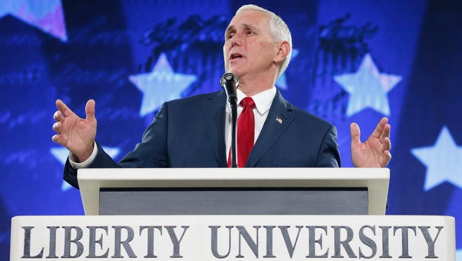 The Republican vice presidential candidate, Indiana Gov. Mike Pence, spoke Wednesday, Oct. 12, 2016, at Liberty University in Lynchburg, Va.