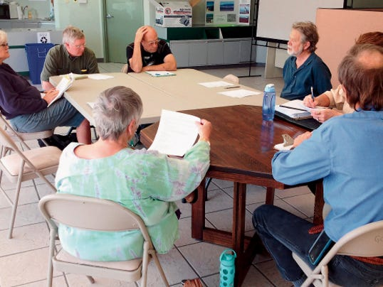 The Silver City Recycling Advisory Committee discusses on Thursday the upcoming Earth Day event, to be held on April 18 at Gough Park. Randal Seyler - Sun-News