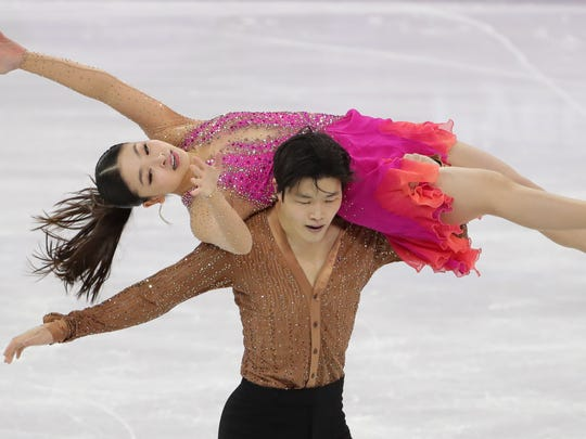 Feb 11, 2018; Pyeongchang, South Korea; Alex Shibutani and Maia Shibutani (USA) compete in the Figure Skating-Team-Ice Dance Short Dance event during the Pyeongchang 2018 Olympic Winter Games at Gangneung Ice Arena.