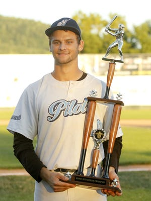 Allen Murphy of the Newark Pilots won the home run derby as part of Perfect Game Collegiate Baseball League All-Star Game activities at Elmira's Dunn Field on July 18.
