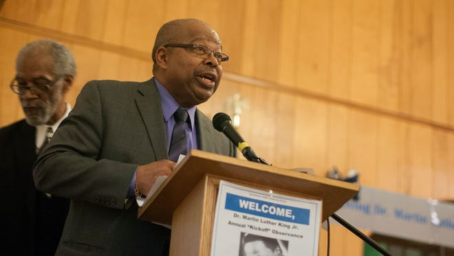 The Rev. Alex Crittenden speaks during a 2017 event celebrating the Dr. Martin Luther King Jr. national holiday