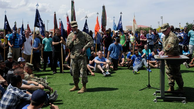 Lt. Col. Brian Hallberg, the rear detachment commander for 1st Brigade, talks to his soldiers about the importance of the SHARP program during the recent SHARP Awareness Day.