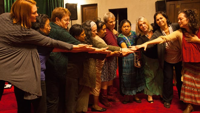 Guatemalan and American women perform together in the opening scene with the Faith Stories Project and the Looking for Lilith Theatre Company.