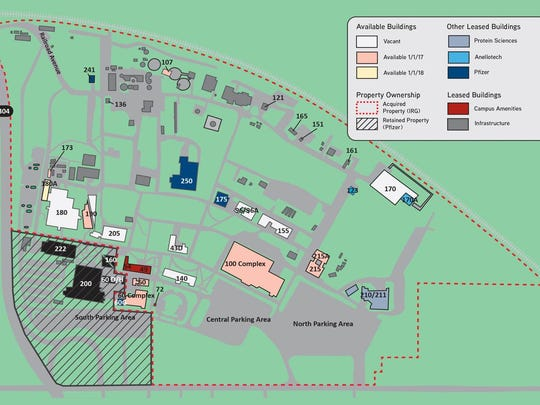 The map of the campus layout at Pfizer's Pearl River