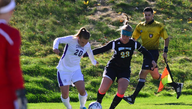 CMR graduate Lexi Pyette, left, has been a significant contributor for Carroll College women's soccer and golf teams this fall.