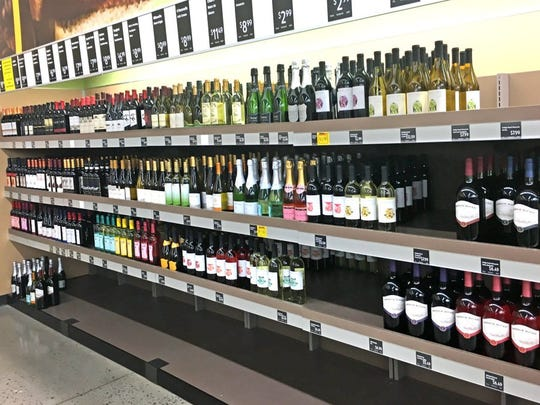 Wine lines the shelves at the ALDI store in Oak Ridge on Aug. 24, 2016. Grocery store Sunday wine sales will start in January.