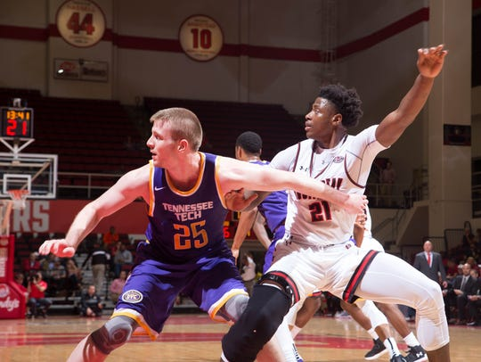 Austin Peay forward Terry Taylor calls for the ball against Tennessee Tech.