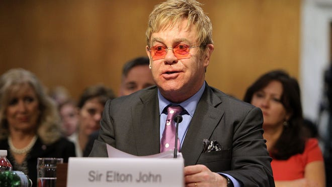 Sir Elton John, of the Elton John Aids Foundation, testifies before a Senate subcommittee on the global fight against HIV/AIDS, on May 6, 2015.