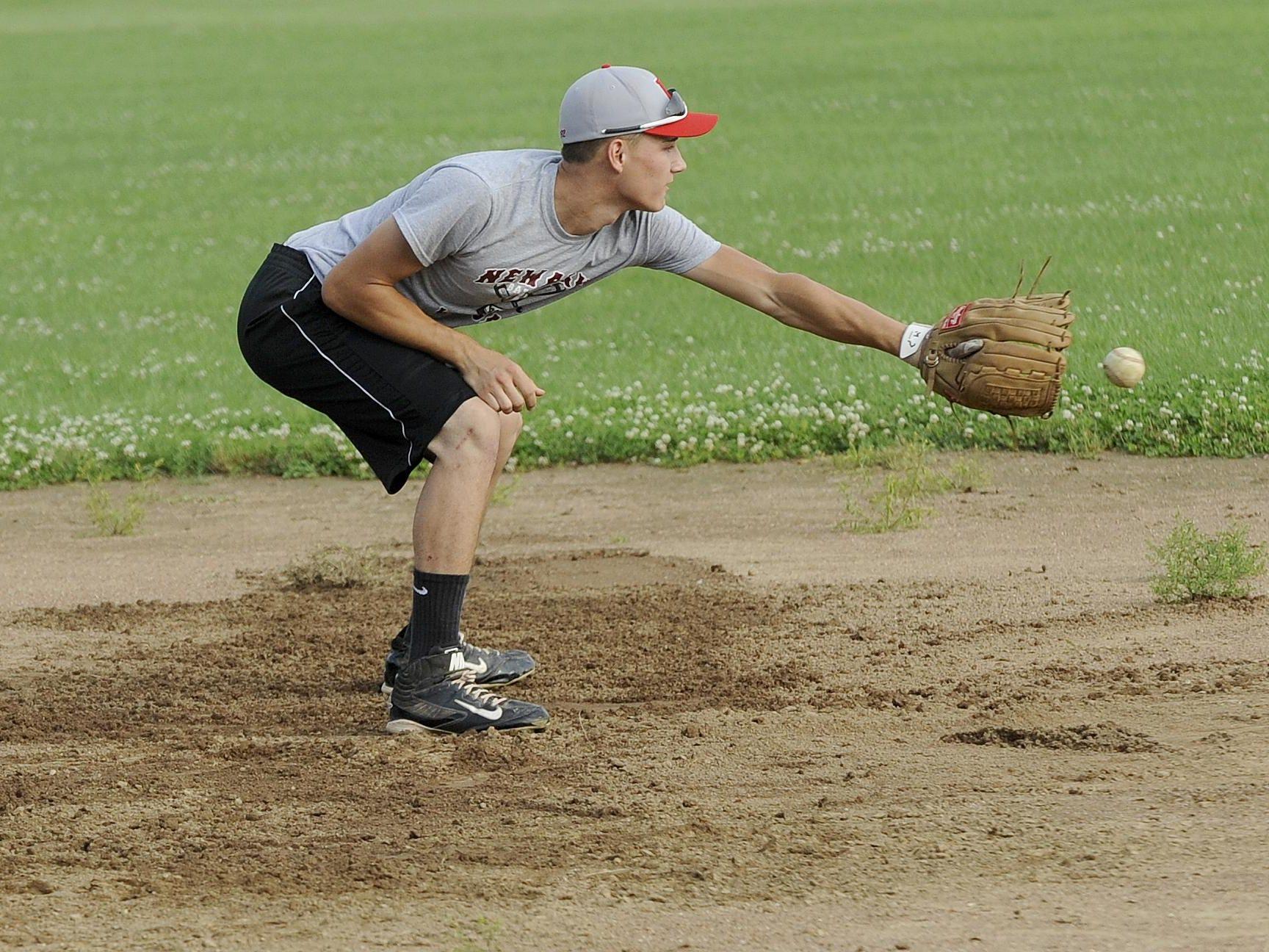 Shortstop Tyler Osborne practices with Utica Post 92 on Wednesday at Newark High School.