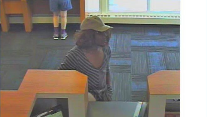 Police are looking for this man, who they say robbed a bank on Friday afternoon.