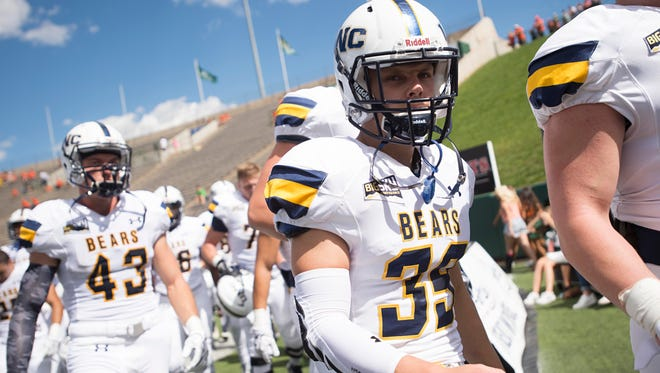 University of Northern Colorado football players leave the field after warming up for a Sept. 17, 2016, game against CSU at Hughes Stadium. UNC is traveling to Florida for a game Saturday that was moved up 7 1/2 hours Wednesday in an effort to get it in before Hurricane Irma hits the region.