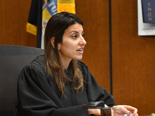 Wayne Conty Judge Mariam Bazzi speaks during the sentencing of Detroit Police Officer Lonnie Wade Monday.