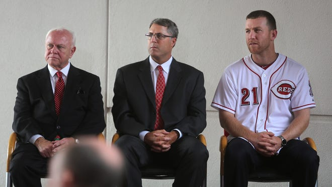 (Left to right) Walt Jocketty, Bryan Price and Todd Frazier.