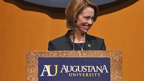 Stephanie Herseth Sandlin smiles while speaking during