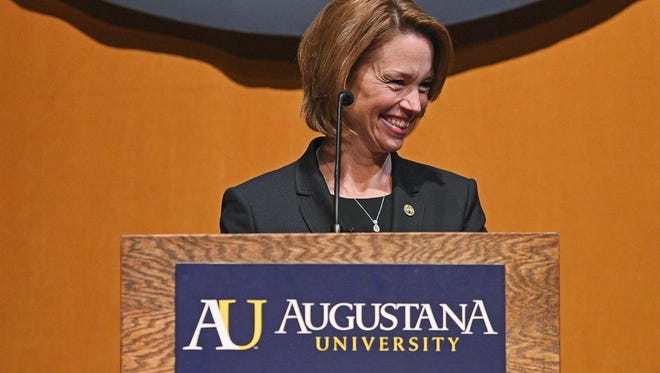 Stephanie Herseth Sandlin smiles while speaking during an event introducing her as the new president of Augustana University Thursday, Feb. 23, 2017, at Augustana in Sioux Falls.