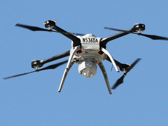A Michigan State Police drone hovers over a training