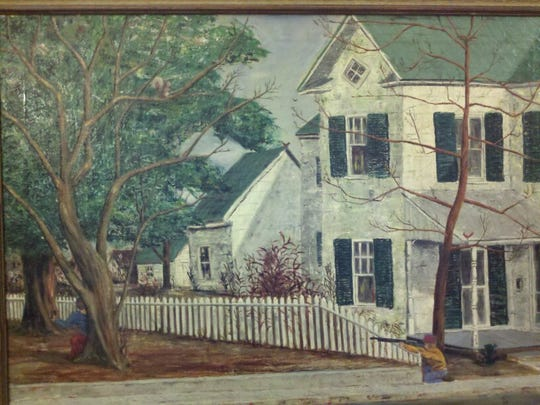 "Painting of 309 Newton St. in early 1960s, painted by Susan Parker's late mother, Katherine ""Kit"" Hargreaves. The child on the right is her younger brother, Russ, and on the left is his friend Matt Tolley, who lived across the street."
