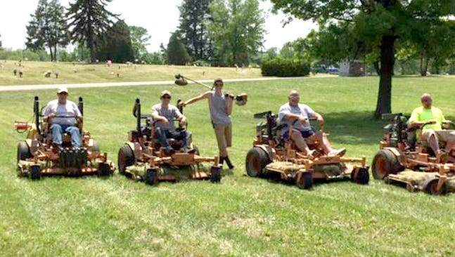 Sheppard's Groundskeeping recently donated time and equipment to help with mowing Oak Lawn Cemetery in Gettysburg. From left, are: Warren Sheppard, Co-Owner - Sheppard's Groundskeeping; Crew: Callie Sheppard, Dakota Mills, Doug Caskey and Jason Crotsley. Dolly Sheppard is not pictured.
