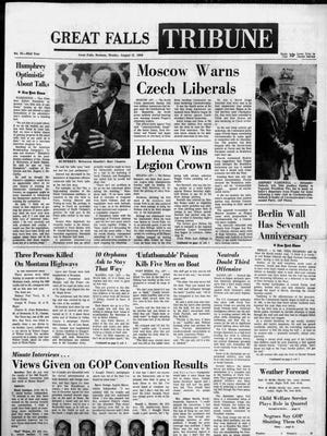 Front page of the Great Falls Tribune on Monday, Aug. 12, 1968.