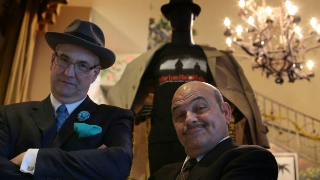 """Actor Jon Polito and Alan Rode, the producer of the Arthur Lyons Film Noir Festival, attend the opening night showing of """"Miller's Crossing"""" on Thursday at the Camelot Theatres in Palm Springs."""