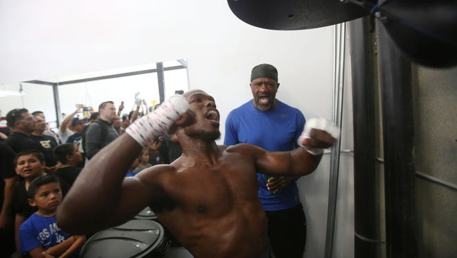 Former WBO welterweight champion Timothy Bradley Jr. trains at his private boxing gym in Indio in preparation for his bout against Jessie Vargas in Carson on June 26, 2015.