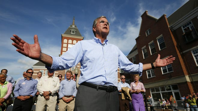 Republican presidential candidate Jeb Bush speaks to a crowd of about 500 at Molengracht Plaza in Pella on Wednesday.
