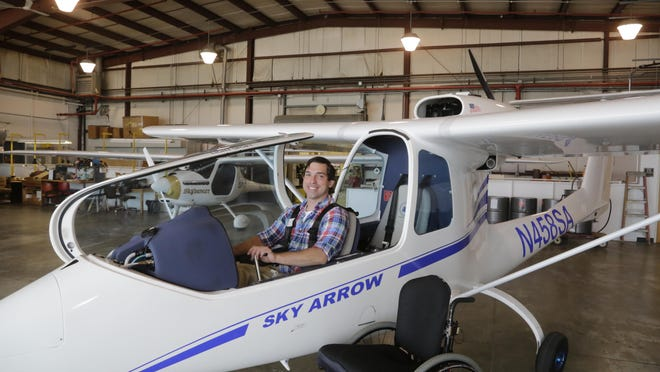 Stephen Carrier typically flies a Sky Arrow adapted plane while training for his sport pilot certificate through the Able Flight program at Purdue University. The program provides flight and aviation career training for people with disabilities.