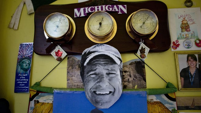 A cut-out photo of Mike Rowe hangs from a calendar at Carolyn and Marilyn Maedel's home in St. Clair. The two have been on several shows with Mike Rowe, and are unofficially considered his biggest fans.