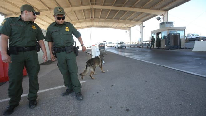 Drug-sniffing dogs are used to detect contraband at a Border Patrol checkpoint on the 86 Expressway Highway near Salton City. These dogs can help detect drugs that have already been introduced into the United States.