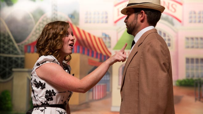 """Kelsey Moran of Bayard plays Margy Frakes while dancing with Phillippe Taborga of Adel as Pat Gilbert as they rehearse """"State Fair"""" Monday, July 6, 2015, with the Urbandale Community Theatre at the Urbandale High School Performing Arts Center in Urbandale."""