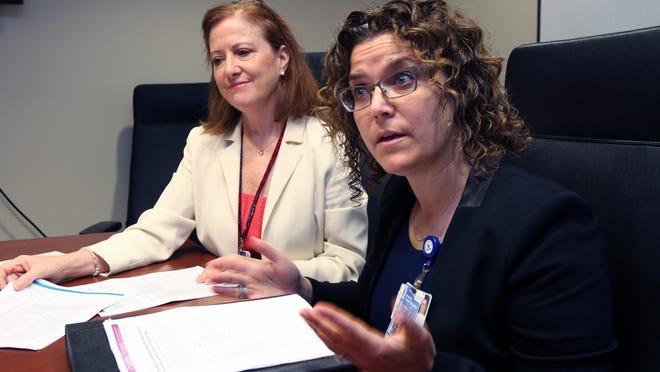 Doctors Robin L. Altman and Jennifer Canter talk about infant safety at Maria Fareri Children's Hospital at Westchester Medical Center in Valhalla.