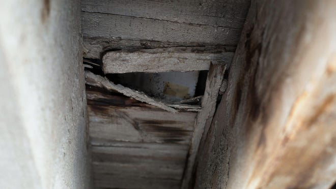 Rotting wood can be seen under the Stetson Avenue Bridge in Hemet on Thursday. It's the worst bridge in Riverside County.