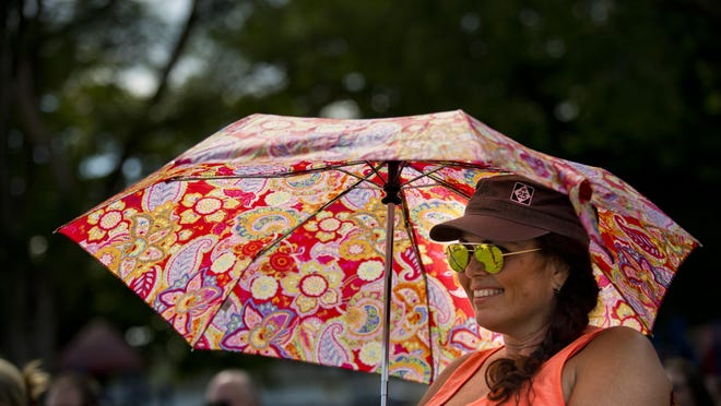 Renee Sanger, of Clarkston, listens to the band perform under a colorful umbrella during the East Ports Blues Festival Saturday, Aug. 1, in Port Sanilac.