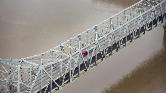 An aerial photos shot of the Brent Spence Bridge over the Ohio River.