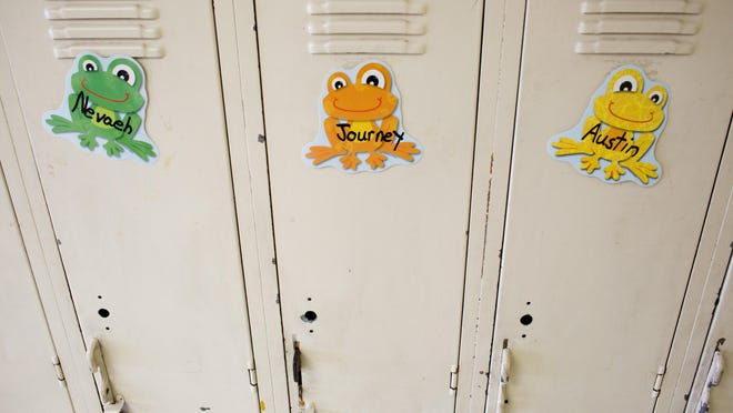 Lockers are outdated and in need of repair at Kimball Elementary.
