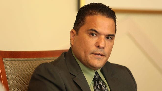 Desert Recreation District, Division II candidate Rudy Gutierrez speaks to The Desert Sun Editorial Board on Sept. 15, 2015, in Palm Springs.