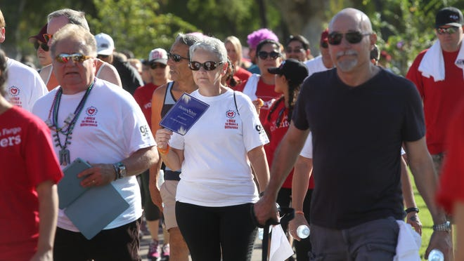 Hundreds came to walk in the annual Desert Aids Walk in Palm Springs held at Ruth Hardy Park in the movie colony neighborhood.