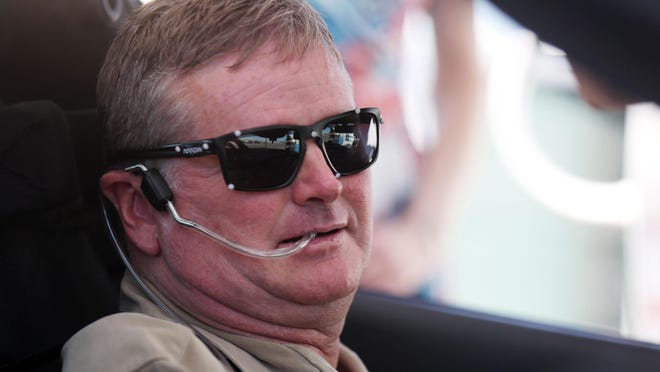 Indy Racing League driver Sam Schmidt in his modified Corvette on Tuesday, Sept. 27, 2016, in Las Vegas. Schmidt, paralyzed from the neck down, is set to receive the first license restricted to an autonomous vehicle in the U.S. The license allows him to drive on Nevada roads in his specially modified Corvette.