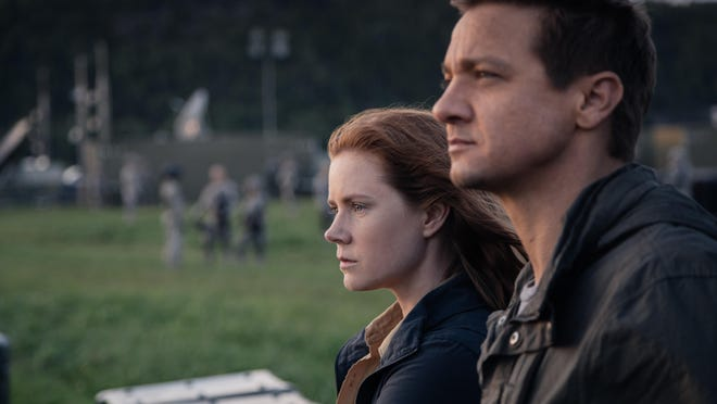 """Amy Adams as Louise Banks and Jeremy Renner in """"Arrival."""""""