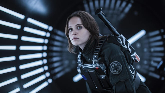 """Felicity Jones is Jyn Erso in """"Rogue One: A Star Wars Story."""" The movie opens Thursday at Regal West Manchester Stadium 13, Frank Theatres Queensgate Stadium 13 and R/C Hanover Movies."""