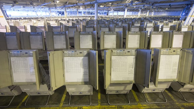 This Oct. 14, 2016 photo shows voting machines to be used in the upcoming presidential election in Philadelphia. Pennsylvania is one of the states that rely on antiquated voting machines that store votes electronically, without printed ballots or other paper-based backups that could be used to double-check the balloting. There'€™s almost no way to know if they'€™ve accurately recorded individual votes, or if anyone tampered with the count. (AP Photo/Matt Rourke)