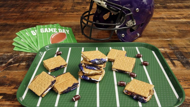 """Game Day S'mores are a riff on the very popular summer campfire s'mores. If you love marshmallow and chocolate, and have fun nostalgic memories of campfire s'mores, these simpler """"no-bake"""" Game Day S'mores will delight you."""