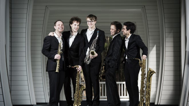 Five Sax is, from left, Joel Diegert, Damiano Grandesso, Pieter Pellens, Michal Knot and Alvaro Collao.