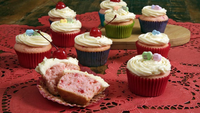 Cherry cupcakes with orange-bourbon frosting are ideal for Valentine's Day.