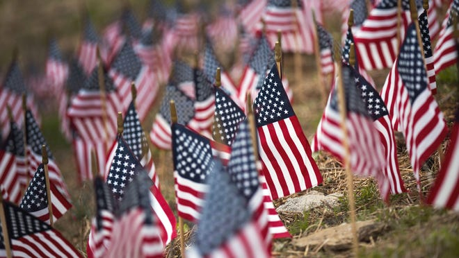 The sea of 660 American flags just below the Celestial restaurant represents how many veterans commit suicide each month, says Gold Star sister Nikki Glutz.