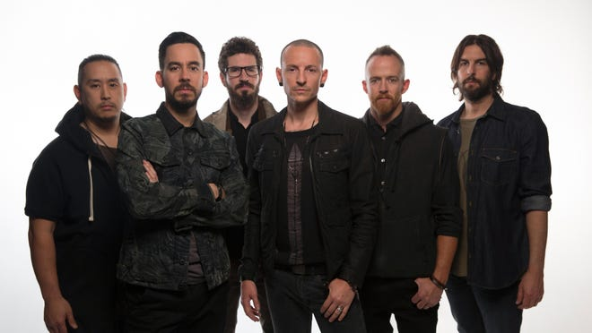 """Linkin Park from left: Joe Hahn, Mike Shinoda, Brad Delson, Chester Bennington, Dave """"Phoenix"""" Farrell and Rob Bourdon. The band plays Riverbend on Aug. 12. Tickets go on sale Friday."""